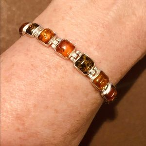 Jewelry - .925 Sterling silver bracelet with amber stones